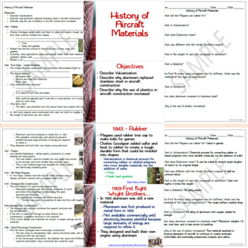 History of Aircraft Materials Packet: PowerPoint, Student Notes, Activity