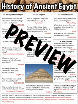 History of Ancient Egypt Worksheet