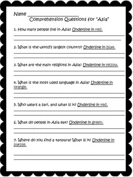 3rd Grade Asia Unit {History & Countries of Asia} Maps, Texts, Quizzes