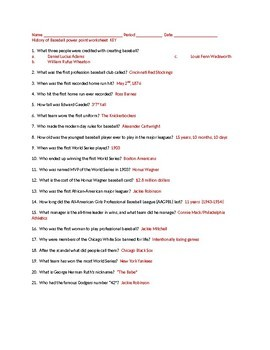 History of Baseball Power Point questions and key