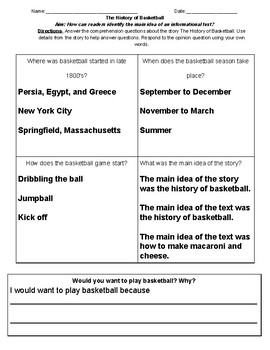 History of Basketball comprehension questions
