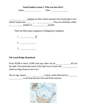 History of Canada Guided Notes - Lesson 1: Who was here first?