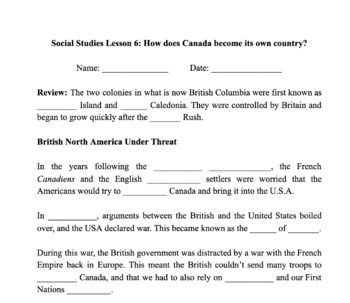History of Canada Notes - Lesson 6: How does Canada become a country?