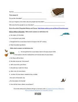 History of Chocolate Webquest
