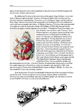 History of Christmas & Santa Reading Comprehension Worksheet- No Prep
