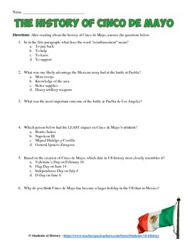 History of Cinco de Mayo Reading and Worksheet