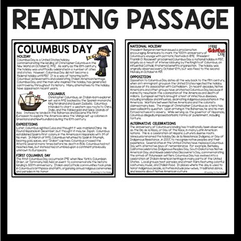 History of Columbus Day Reading Comprehension; October; Exploration