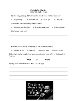 Martin luther king jr worksheets teaching resources teachers pay history of dr martin luther king jr worksheet quiz handout special education malvernweather Images