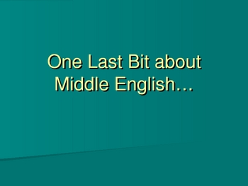 History of English-Early Modern English Power Point Lecture
