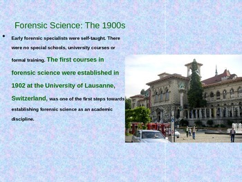 History of Forensic Science PowerPoint Part 2