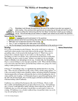 History of Groundhog's Day Close Reading