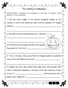 History of Halloween Comprehension