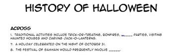 History of Halloween - Cross Word Puzzle