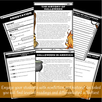 History of Halloween: Leveled Readings and Differentiated Common Core Activities