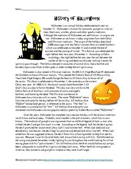 History of Halloween Worksheet - No Prep!