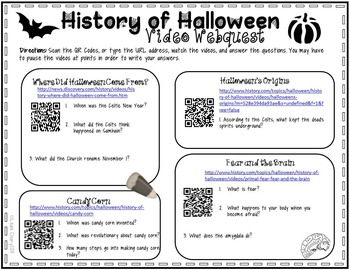 History of Halloween Video Webquest and Game