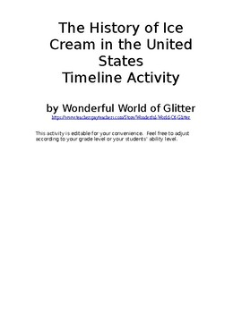 History of Ice Cream in the United States Timeline Activity