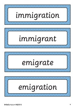 History of Immigration Word Bank and Inquiry Questions