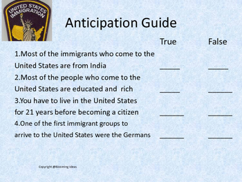History of  the U.S.  Immigration and Challenges - no prep lesson!