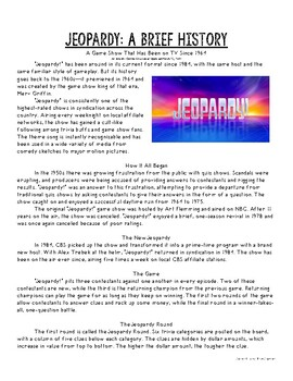 History of Jeopardy! Informational Article