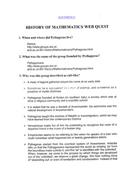 WebQuest:  History of Math (Any Level with Answers)