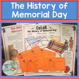 History of Memorial Day Reading, Task Cards, and Color By