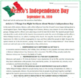 History of Mexico's Independence Day - Reading & Sub Plan