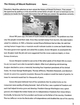 History of Mount Rushmore READING COMPREHENSION / VOCABULARY LESSON 14 Questions
