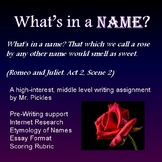 History of Names - High Interest Middle School Writing Assignment