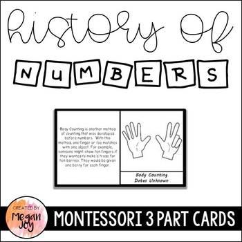 History of Numbers 3 Part Cards