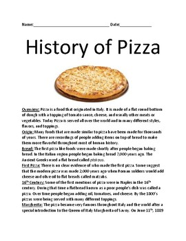 History of Pizza - Lesson information facts questions activities word search