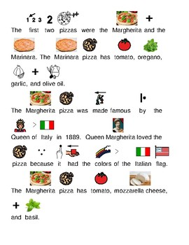 History of Pizza - picture supported text lesson article questions visuals