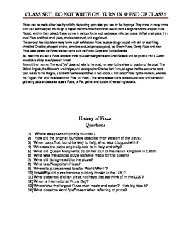 History of Pizza with Article Questions for FCS Culinary Arts Course
