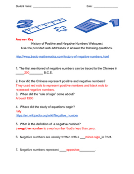 History of Positive and Negative Numbers Webquest