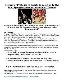 History of Protests in Sports - relation to the Star Spangled Banner DBQ: