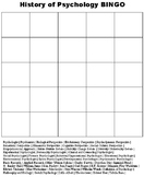 History of Psychology BINGO Review Game