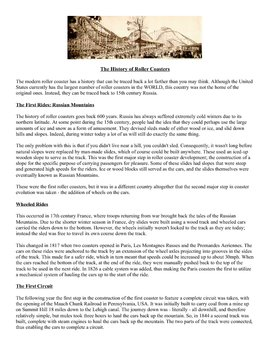History of Roller Coasters -- Open Response