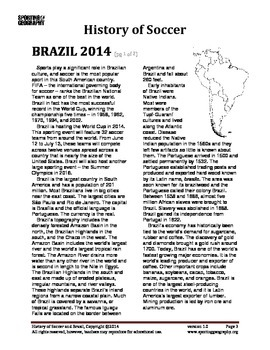 History of Soccer and Brazil 2014