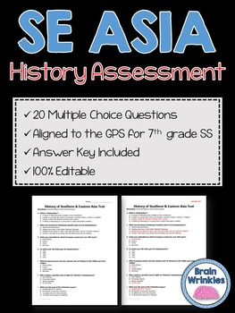 History of Southern and Eastern Asia Assessment (Editable)