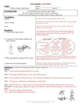 History of Space Exploration Cornell Notes #25