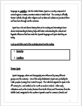 History of Spain Worksheet