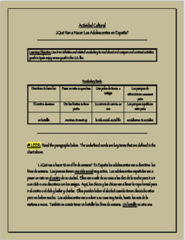 History of Spain Activity Sheet