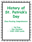 History of St. Patrick's Day - Close Reading Comprehension - Key Included