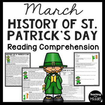 History of St. Patrick's Day Reading Comprehension Worksheet, March, Ireland