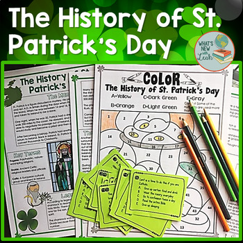 History of St. Patrick's Day Reading with Task Cards and Color by Number Sheet