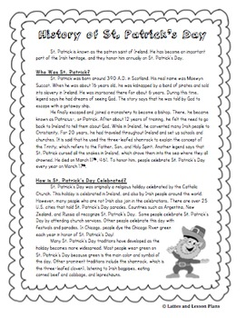 History of St. Patrick's Day - Informational Text and Crossword Puzzle!
