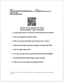 History of Tea and the Tea Trade in Four Minutes Video Worksheet
