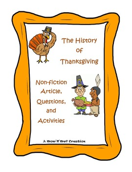 History of Thanksgiving Article and Activities