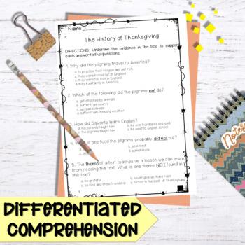History of Thanksgiving Comprehension Bundle