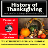 History of Thanksgiving Differentiated Reading Passage Nov